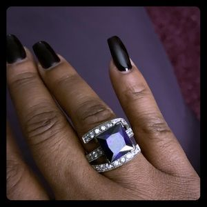 Faux amethyst cocktail ring, sterling silver